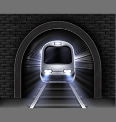realistic modern subway train in tunnel vector image