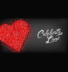red glitter heart valentine day card vector image