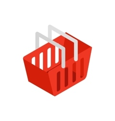 Red shopping basket icon isometric 3d style vector