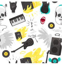 Rock music stuff and musical instruments seamless vector