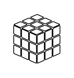 Rubics cube game shape it is black icon vector