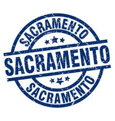 sacramento blue round grunge stamp vector image