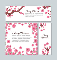 Sakura blossom with pink cherry flowers vector