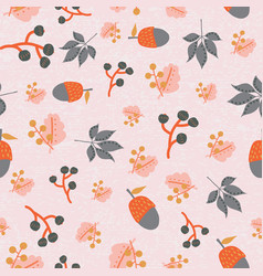 scattered fall leaves berries acorn seamless vector image