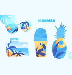 set cute summer time essential elements vector image