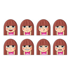 set female facial emotions cute girl emoji vector image