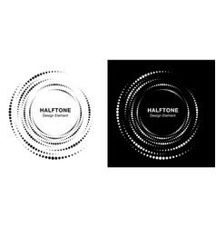 set halftone vortex circle frame dots logo vector image
