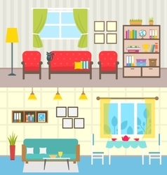 set home interiors design living rooms vector image