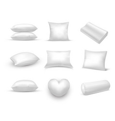 set isolated 3d realistic pillow pile cushion vector image