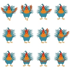 set rooster flat icons vector image