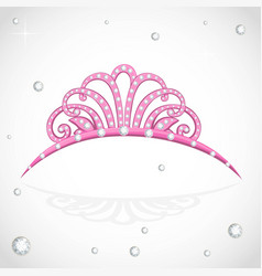 Shiny pink tiara with precious stones isolated on vector