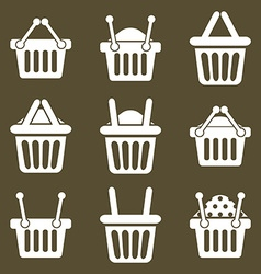 Shopping basket icons set supermarket shopping vector
