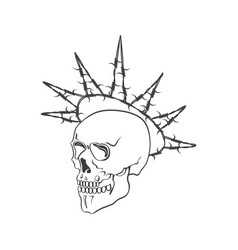 Skull with barbed wire on vector