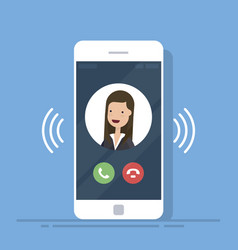 smartphone or mobile phone call or vibrate with vector image