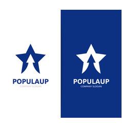 Star and arrow up logo combination vector