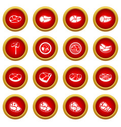 Steak icon red circle set vector
