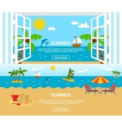 Summer And Beach Banners Set vector image vector image