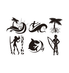 surfers waves palms silhouettes set man and vector image