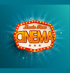 the vintage cinema emblem vector image