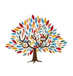 Tree with people for family or community concept vector