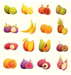 Tropical Fruits Retro Cartoon Icons Set vector image