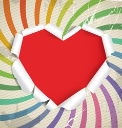 Valentine heart of torn paper on vintage backgroun vector