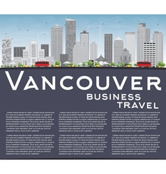Vancouver skyline with grey buildings vector
