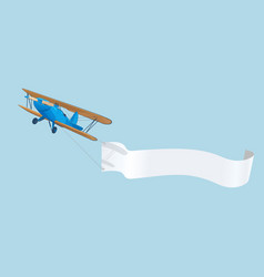 vintage blue airplane with advertising banner in vector image