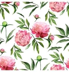 Watercolor peonies pattern vector image