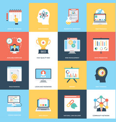 Web and seo flat icons vector