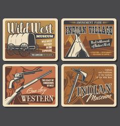wild west western retro posters vector image