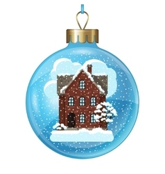 winter card design with house and trees on ball vector image