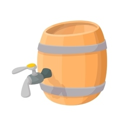 wooden barrel beer with a tap cartoon icon vector image