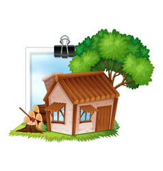wooden cottage on photoframe vector image