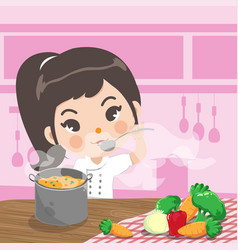 young chef tasty vector image