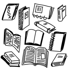 Books sketch collection vector image vector image