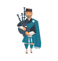 cartoon scottish bagpiper isolated vector image