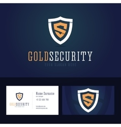 Gold security logo and business card template vector image