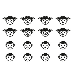 Kid child and baby faces avatars symbols set vector image vector image