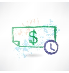 Paper dollar and time grunge icon vector image vector image
