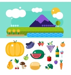 Set of colorful cartoon fruit and mountains vector image vector image