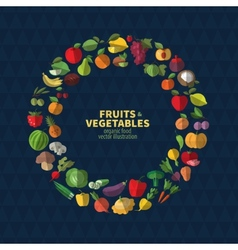 Set of fruits and vegetables icons vector image vector image