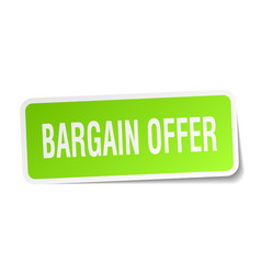 bargain offer square sticker on white vector image vector image