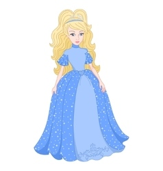 Blonde princess in shine blue dress with spangles vector image