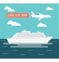 Cruise ship and plane travel poster design vector image vector image