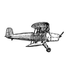 drawing of airplane stylized as engraving vector image