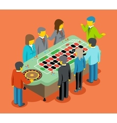 Isometric casino People play at casino table vector image vector image