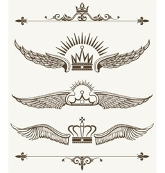 Set of royal winged crowns design elements vector image vector image