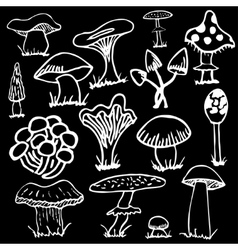 Set of white silhouettes cute cartoon mushrooms on vector image vector image