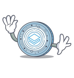 waving stratic coin character cartoon vector image vector image